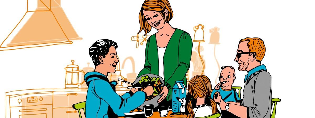 Tukiperhe pöydän ääressä syömässä, äiti ojentaa nuorelle pojalle salaattia. Piirroskuva.