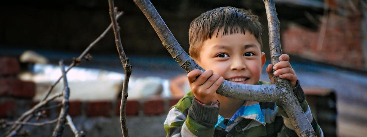 Pieni poika kurkistaa oksanhaarasta.