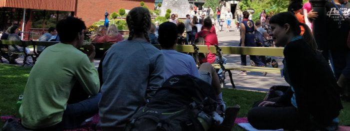 Nuoret istuvat nurmikolla Linnanmäellä aurinkoisena päivänä. Taustalla kävelee paljon ihmisiä.