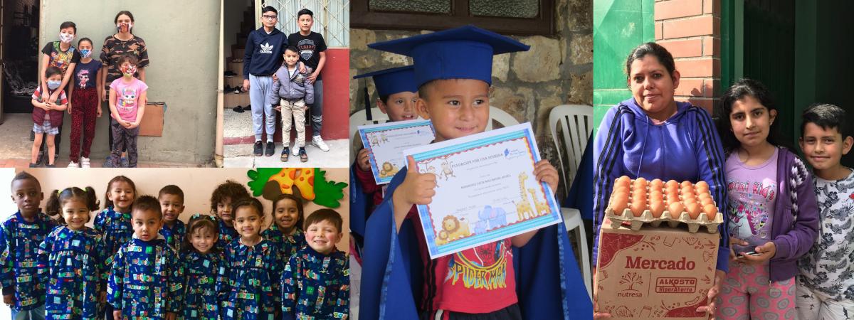 Kuvakollaaasi, jossa on viisi valokuvaa kolumbialaisista lapsista.