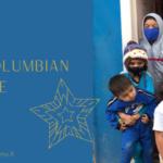 Ryhmä kolumbialaisia lapsia, joilla on maskit kasvoilla kuvan oikealla puolella. Vasemmalla teksti: Joululahja Kolumbian lapsille.
