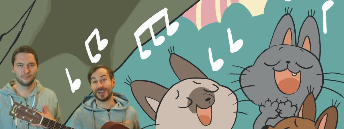 Kaksi musisoivaa nuorta miestä, takana piirroskuva kissoista ja nuoteista.